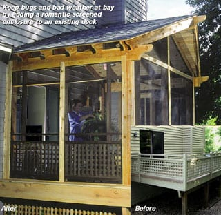 Before and After Screened porch addition