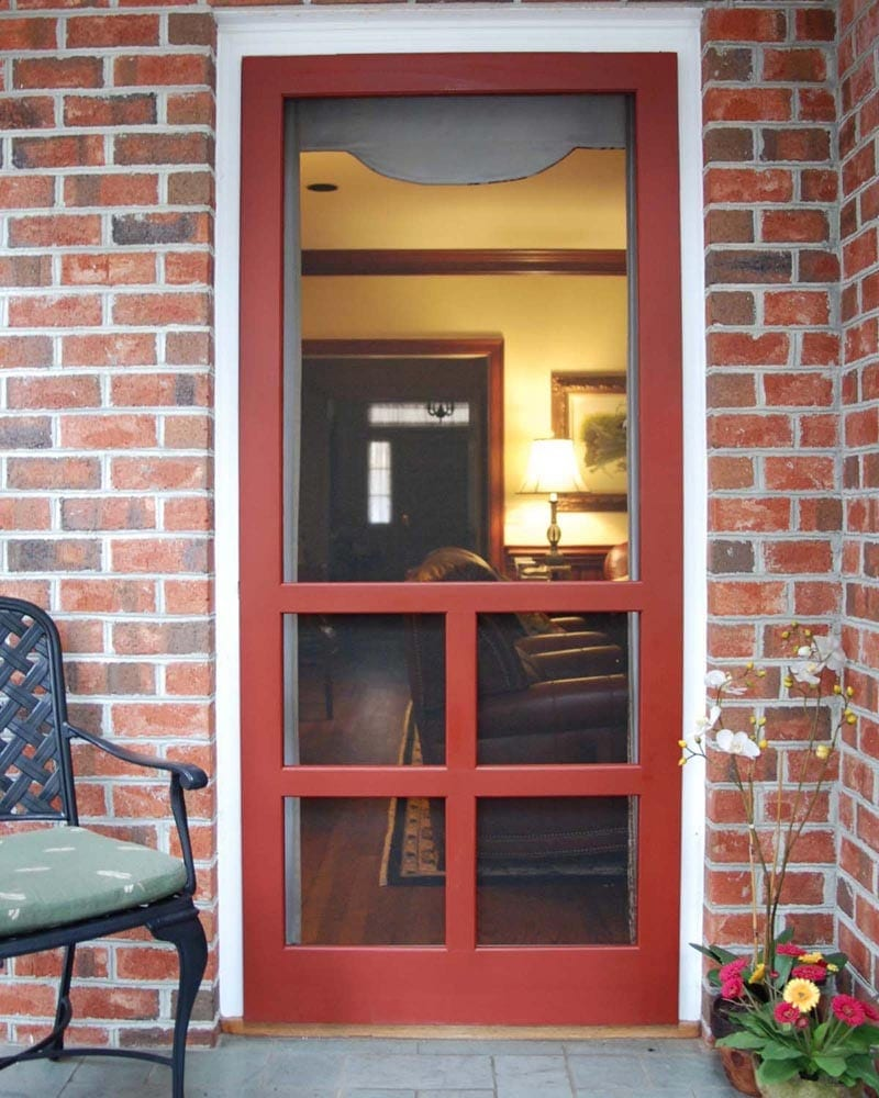 Screen doors solid vinyl wood and pressure treated for Door installation