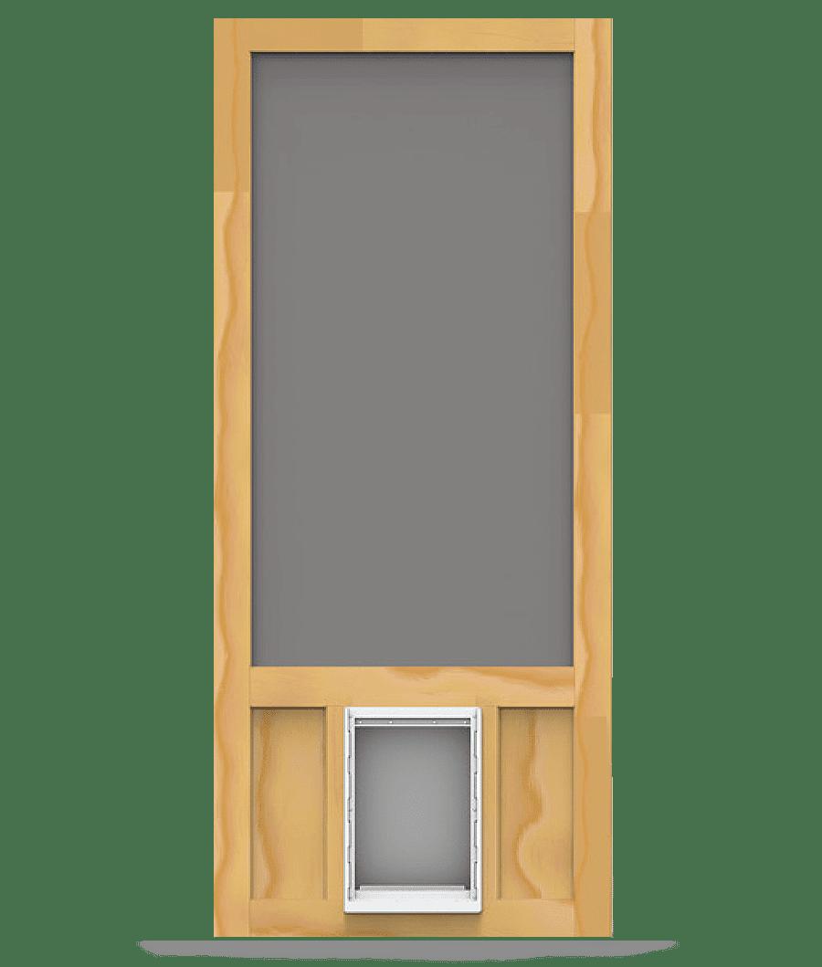 Chesapeake wood screen door with pet door screen tight for Removable screen door