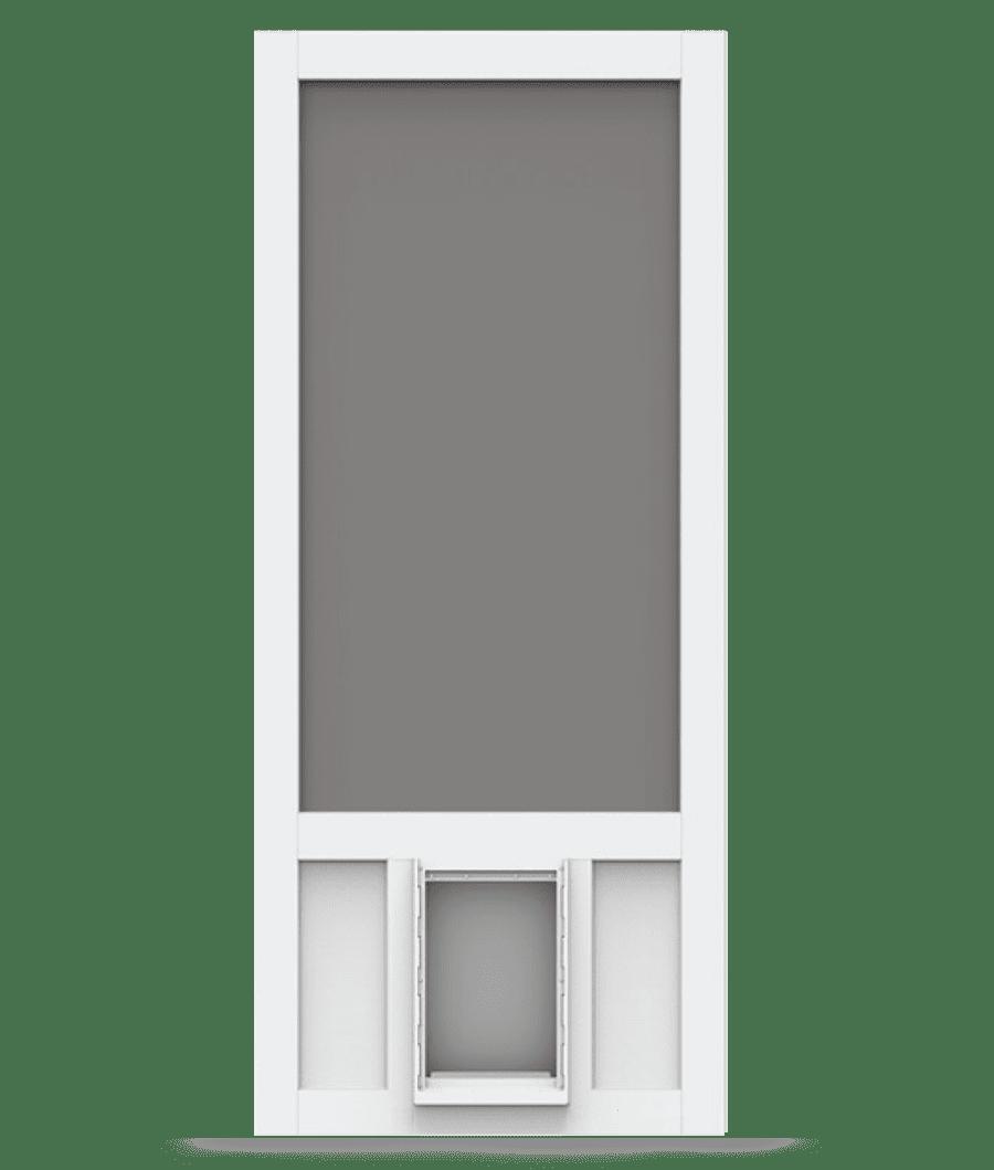 Chesapeake White Vinyl Screen Door With Pet Door Screen