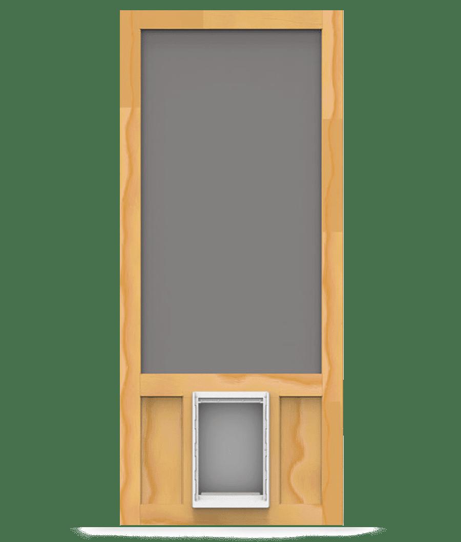 Chesapeake wood screen door with xl pet door screen for Wood screen doors