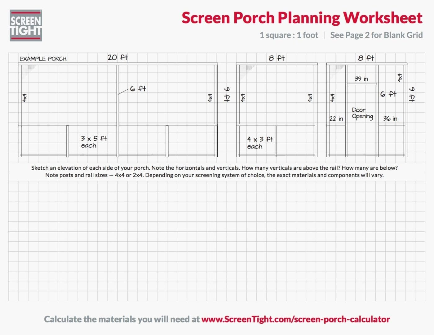 Porch Planning Worksheet