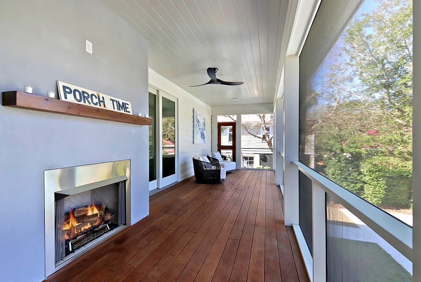 Screened-in Porch with Fireplace