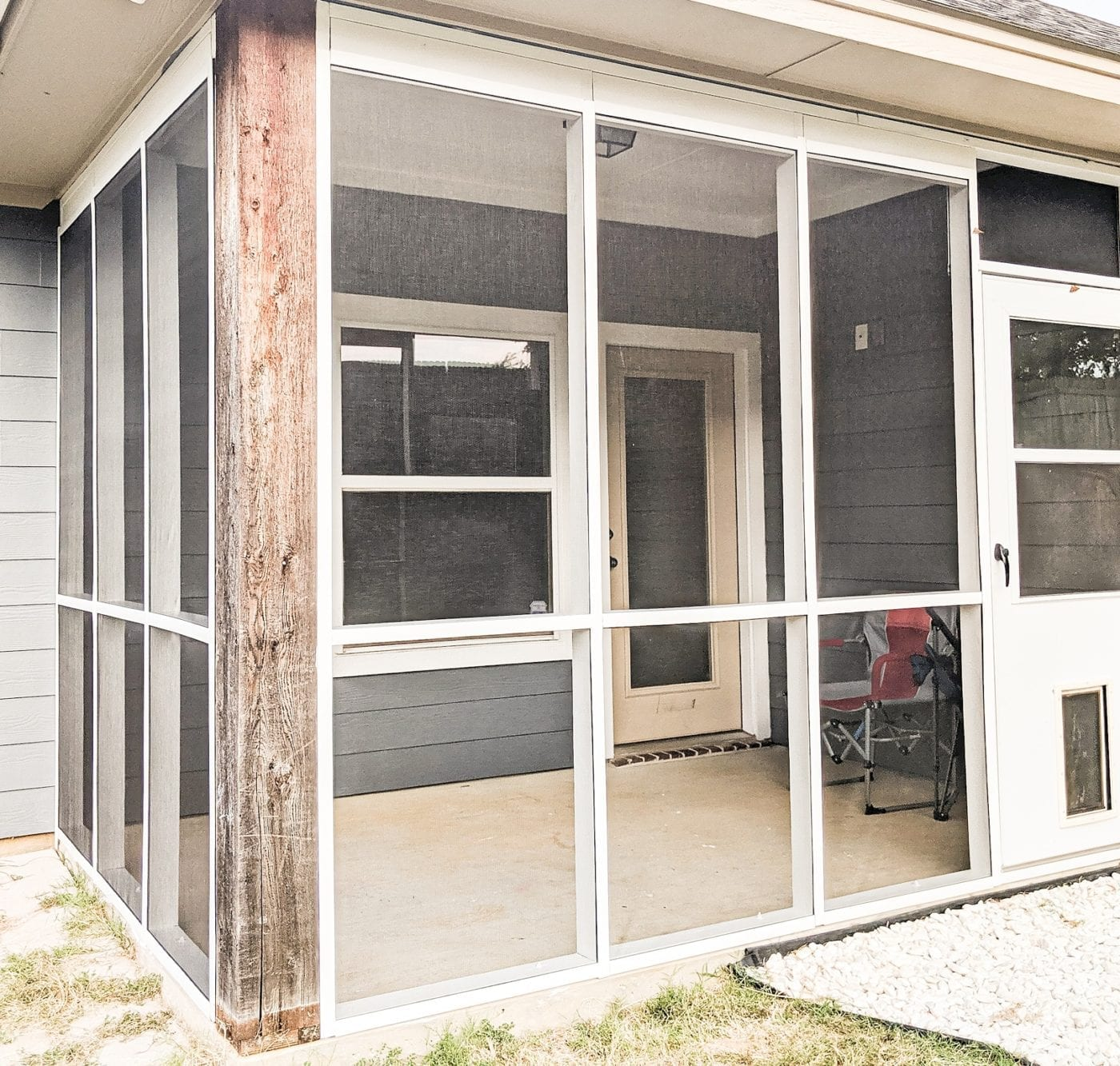 DIY Screen Porch Project after